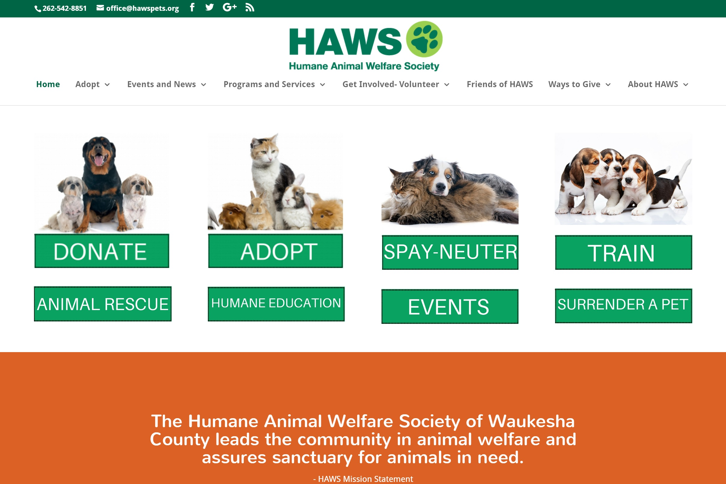 The Humane Animal Welfare Society Website